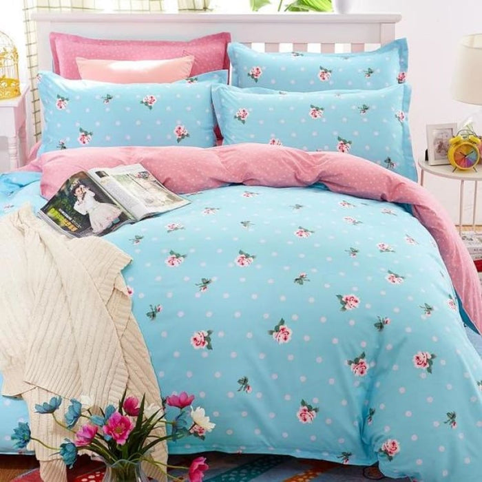Bedding Set Korean Summer Style - blue / Full - Bedding Sets