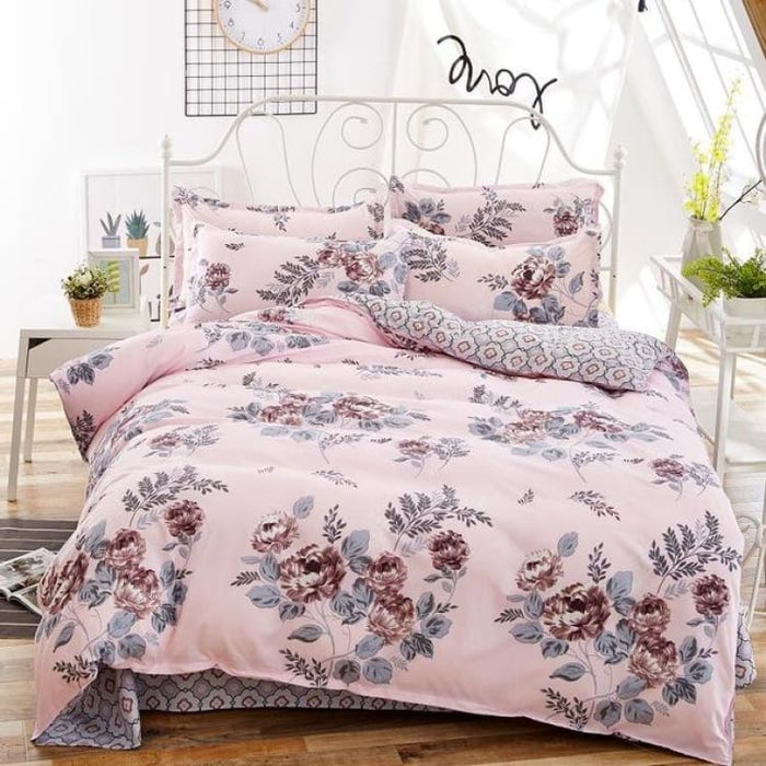 Bedding Set Korean Summer Style - coffee flower / Full - Bedding Sets