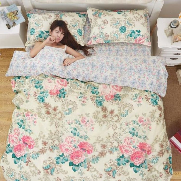 Bedding Set Korean Summer Style - flower and women / Full - Bedding Sets