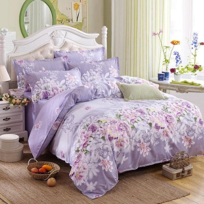 Bedding Set Korean Summer Style - love flower purple / Full - Bedding Sets