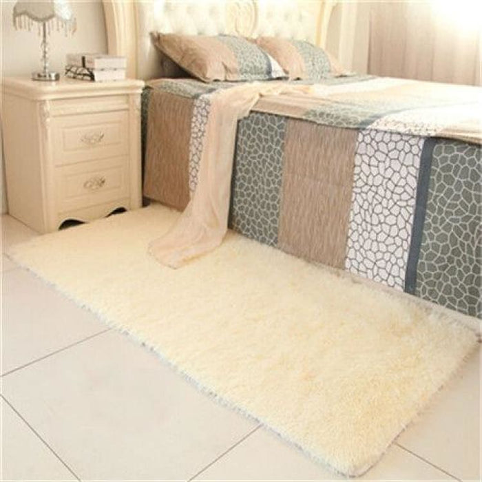 Bedroom carpet 80*160cm Middle size long hair (4-5cm) living room carpet 50*160 kitchen rug 120*170cm Customize modern room mat - Cream