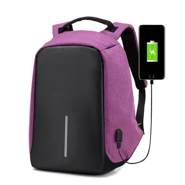 Best Anti-Theft USB Charging Travel Backpack - purple - Backpack