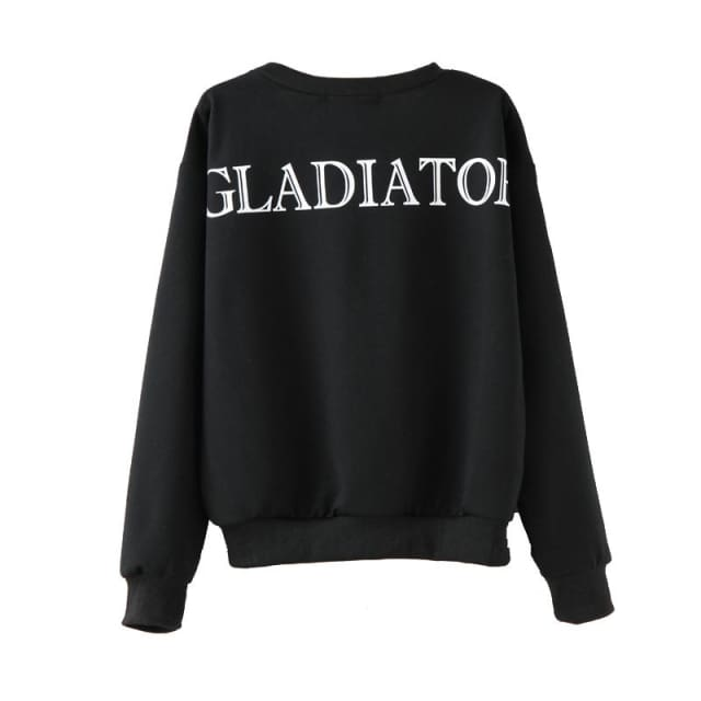 Black and white women pullover long sleeve sweatshirt - Pullovers