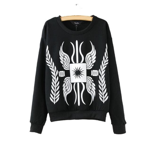 Black and white women pullover long sleeve sweatshirt - Black / L - Pullovers