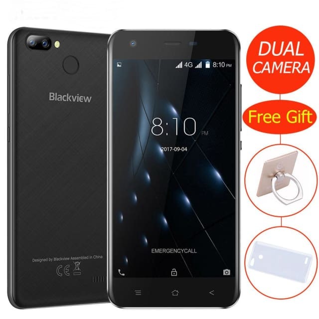 Blackview A7 Pro Smartphone Android 7.0 MTK6737 Quad core 5.0inch HD 4G Mobile phone 2GB+16GB Dual Rear Camera GPS Fingerprint - Mobile