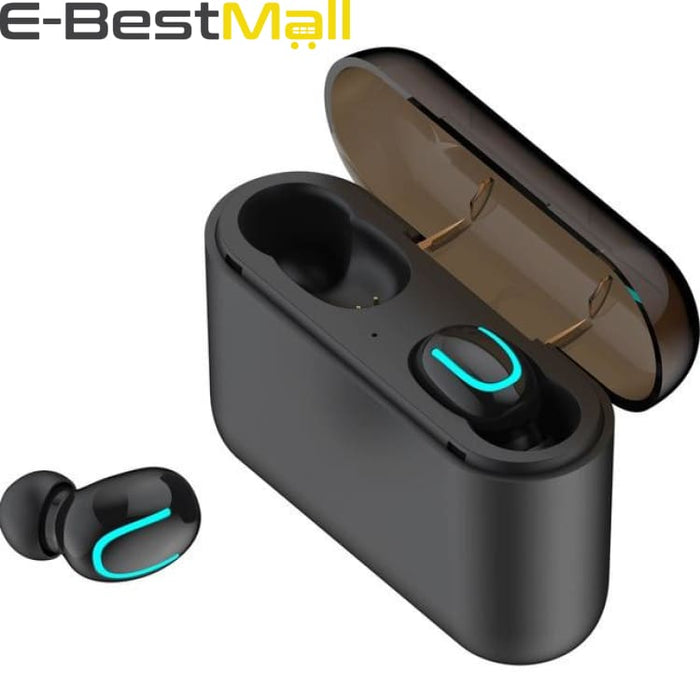 Bluetooth 5.0 Earphones TWS Wireless Headphones Earphone Handsfree Sports Earbuds Gaming Headset Phone PK HBQ - Binaural Black - Headphone