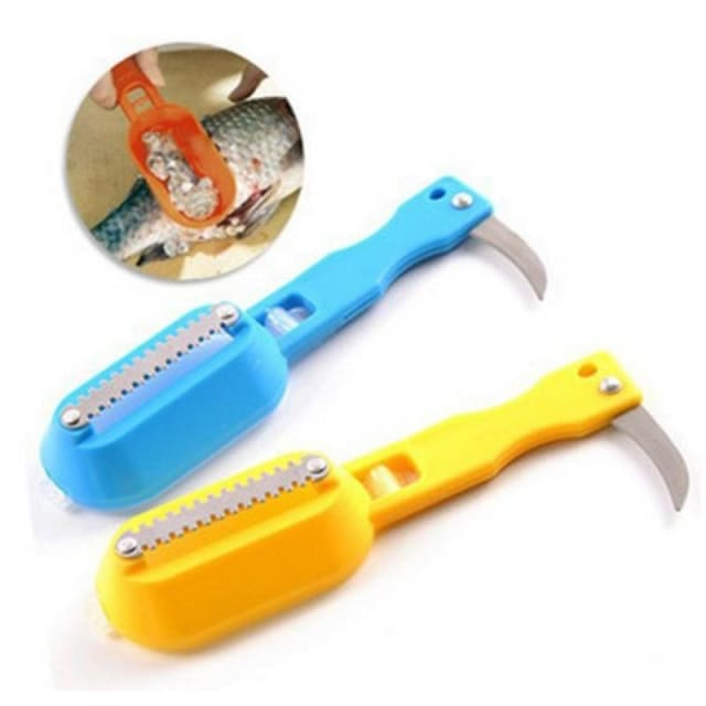 Brush shaver for cleaning fish with attached knife - Seafood Tools