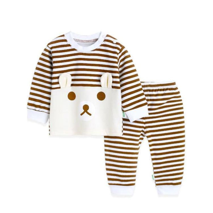 Cartoon Bear Two Pieces Set - Cotton - TZ1556 brown / 12M - Clothing Sets