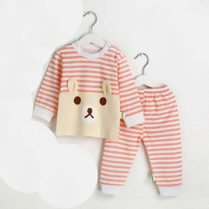 Cartoon Bear Two Pieces Set - Cotton - TZ1556 pink / 12M - Clothing Sets