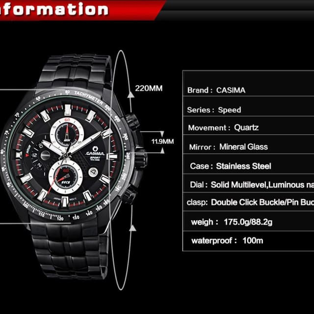 CASIMA - Sport Luxury watche for mens functional luminous waterproof - Sport