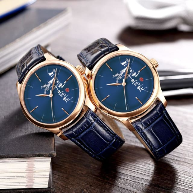Chinese Style Women Watches Blue Leather Fashion Quartz Waterproof - Quartz
