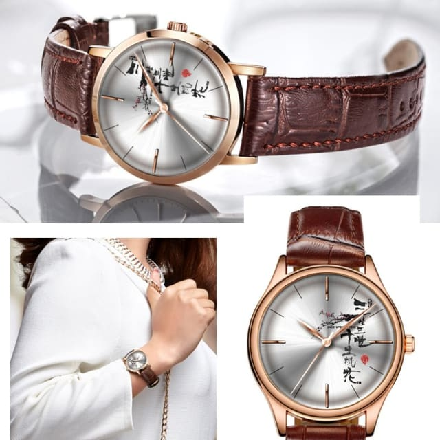 Chinese Style Women Watches Blue Leather Fashion Quartz Waterproof - CR5136RL84 - Quartz