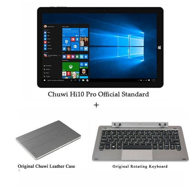 Chuwi Hi10 Pro Tablet PC Intel Atom Z8350 Quad Core 4GB RAM 64GB ROM Windows 10 Android 5.1 Dual OS 10.1 Inch - A keyboard n Case - 2 in 1