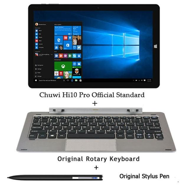 Chuwi Hi10 Pro Tablet PC Intel Atom Z8350 Quad Core 4GB RAM 64GB ROM Windows 10 Android 5.1 Dual OS 10.1 Inch - Add keyboard n Pen - 2 in 1
