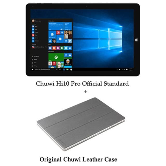 Chuwi Hi10 Pro Tablet PC Intel Atom Z8350 Quad Core 4GB RAM 64GB ROM Windows 10 Android 5.1 Dual OS 10.1 Inch - Add Leather case - 2 in 1