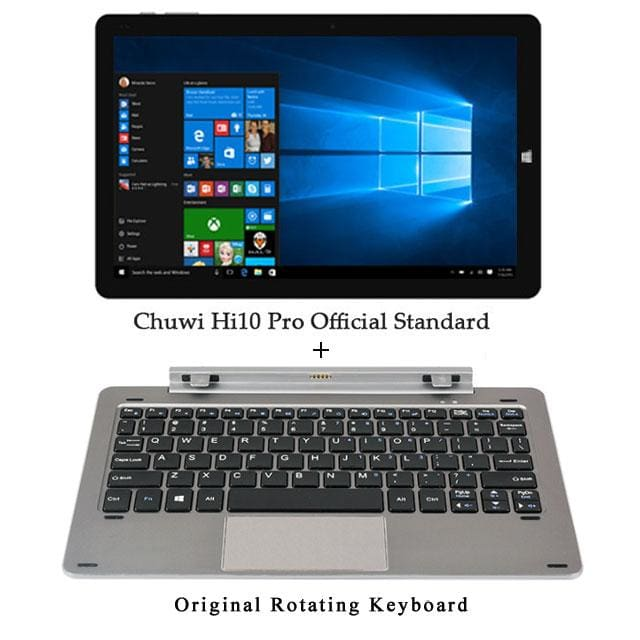 Chuwi Hi10 Pro Tablet PC Intel Atom Z8350 Quad Core 4GB RAM 64GB ROM Windows 10 Android 5.1 Dual OS 10.1 Inch - Add Rotary Keyboard - 2 in 1