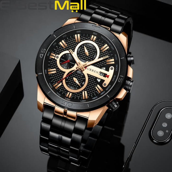 CURREN Business Men Watch Luxury Brand Stainless Steel Wrist Watch Charisma Chronograph Army Military Quartz - Quartz