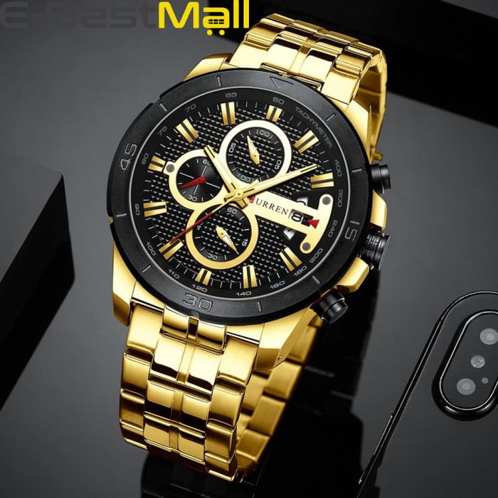 CURREN Business Men Watch Luxury Brand Stainless Steel Wrist Watch Charisma Chronograph Army Military Quartz - gold black watch - Quartz