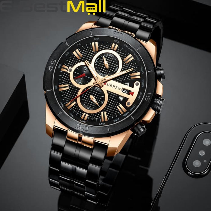 CURREN Business Men Watch Luxury Brand Stainless Steel Wrist Watch Charisma Chronograph Army Military Quartz - rose black watch - Quartz