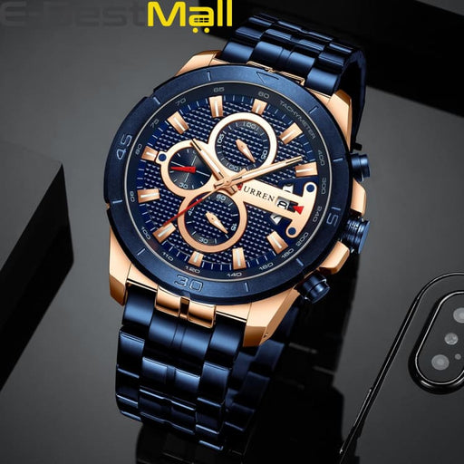 CURREN Business Men Watch Luxury Brand Stainless Steel Wrist Watch Charisma Chronograph Army Military Quartz - rose blue watch - Quartz