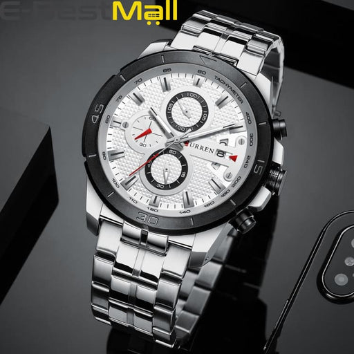 CURREN Business Men Watch Luxury Brand Stainless Steel Wrist Watch Charisma Chronograph Army Military Quartz - silver white watch - Quartz