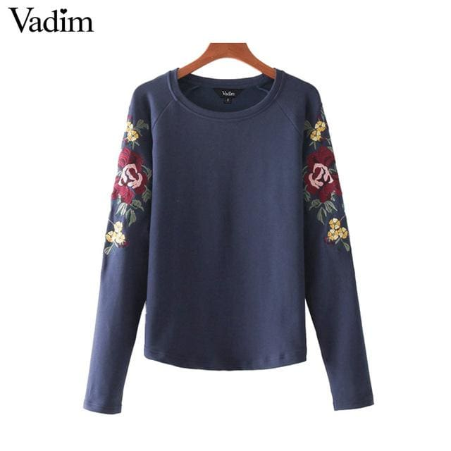 Cute floral embroidery sweatshirt long sleeve - Blue / L - Sweatshirt