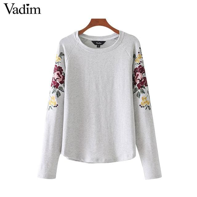 Cute floral embroidery sweatshirt long sleeve - Gray / L - Sweatshirt