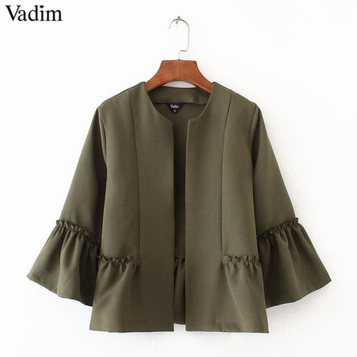 Cute ruffled jacket open stitch design flare sleeve - DarkOliveGreen / L - Basic Jacket