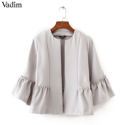 Cute ruffled jacket open stitch design flare sleeve - White / L - Basic Jacket