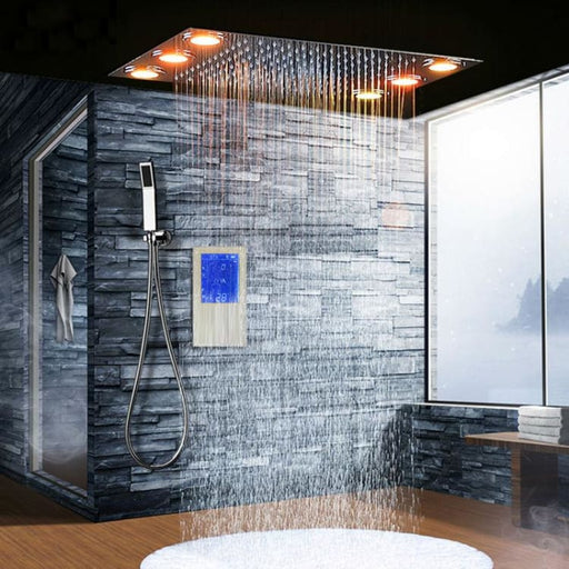 Digital Thermostatic Shower Set Controller Touch Control Panel Modern Luxury European Style SUS304 Rainfall Bathroom Led Ceiling - Shower