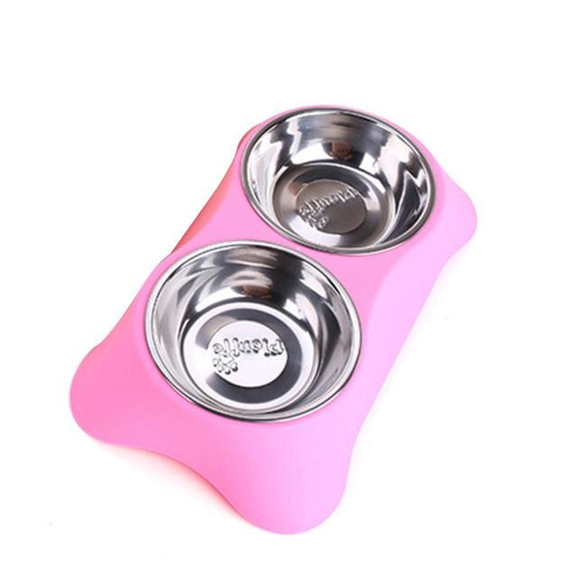 Double Pet Bowls For Dog/Cat - Pink / M / China - Pet Bowls