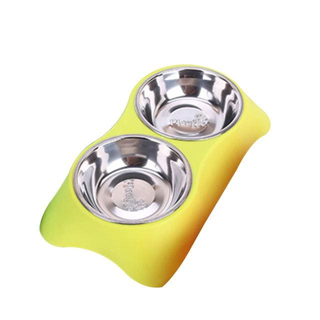 Double Pet Bowls For Dog/Cat - Yellow / M / China - Pet Bowls