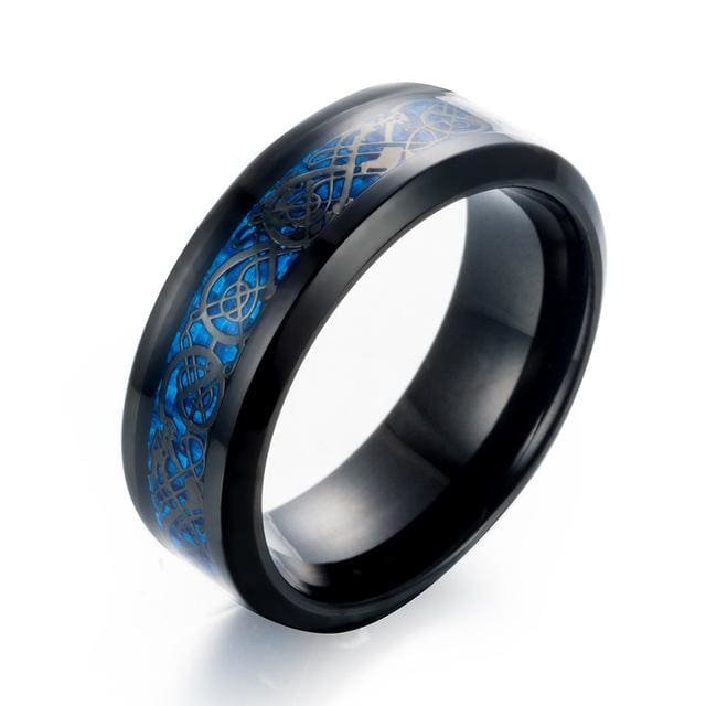 Dragons Breath - Steel Viking Ring - 7 / Black Blue