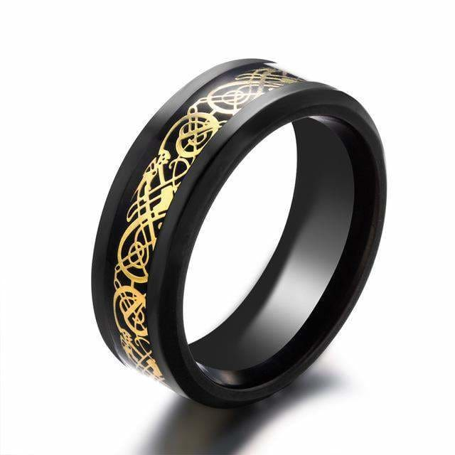 Dragons Breath - Steel Viking Ring - 7 / Black Gold