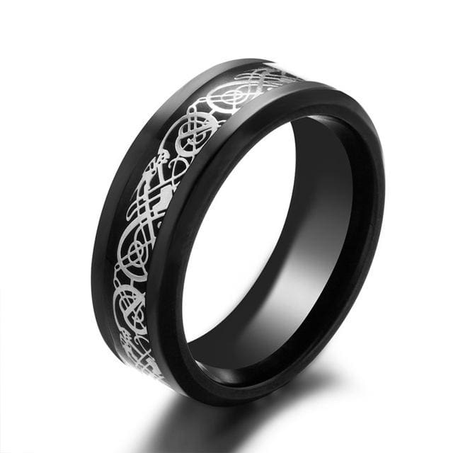 Dragons Breath - Steel Viking Ring - 7 / Black Silver
