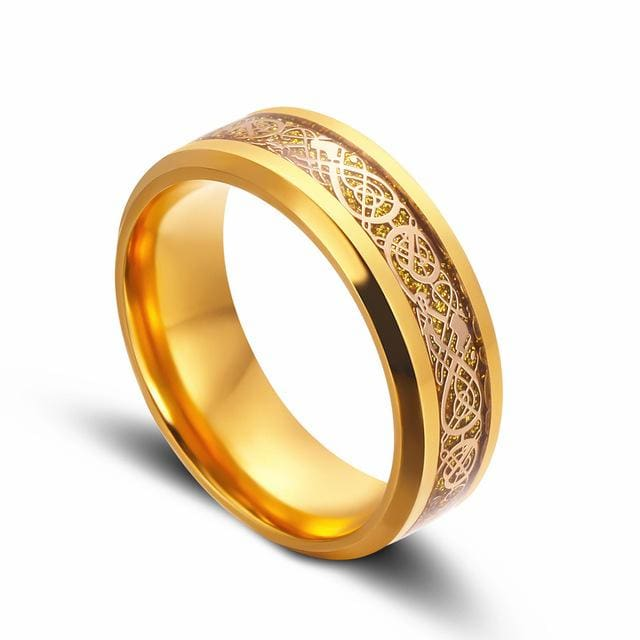 Dragons Breath - Steel Viking Ring - 7 / gold