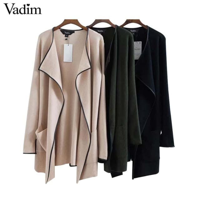 Elegant knitted long trench coat - Trench