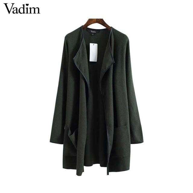 Elegant knitted long trench coat - as picture / L - Trench