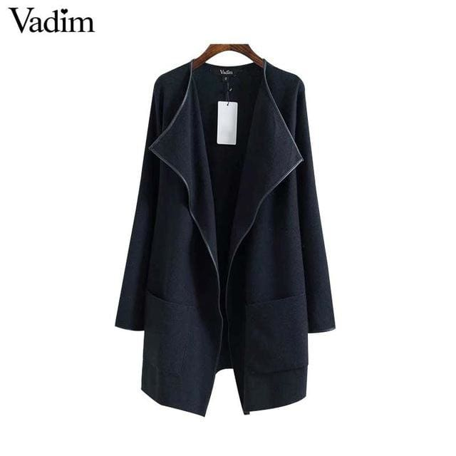 Elegant knitted long trench coat - balck / L - Trench