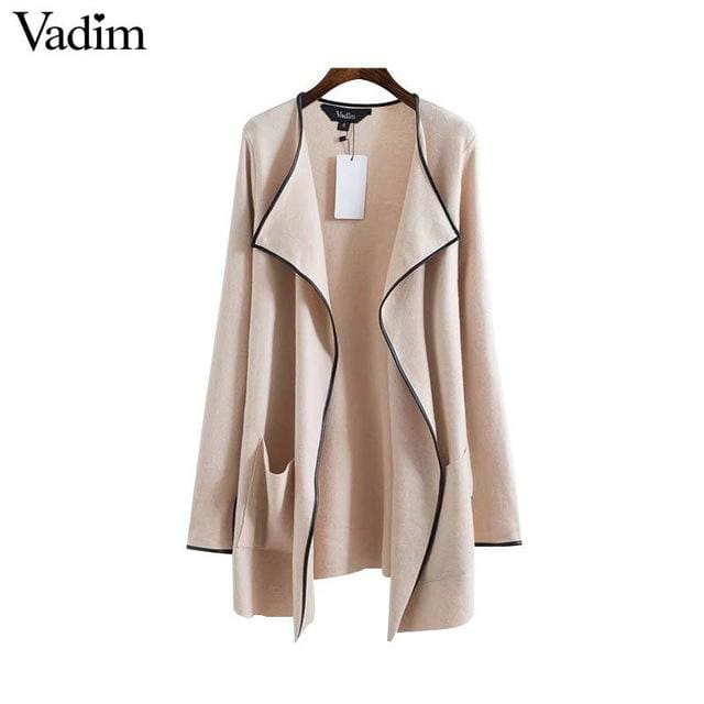 Elegant knitted long trench coat - beige / L - Trench