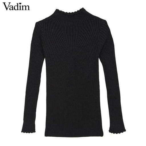Elegant Ruffled Neck Sweaters - Pullover