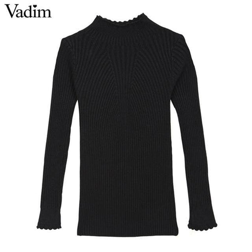 Elegant Ruffled Neck Sweaters - Black / One Size - Pullover