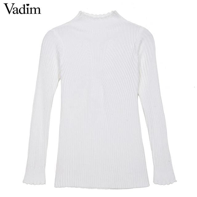 Elegant Ruffled Neck Sweaters - White / One Size - Pullover