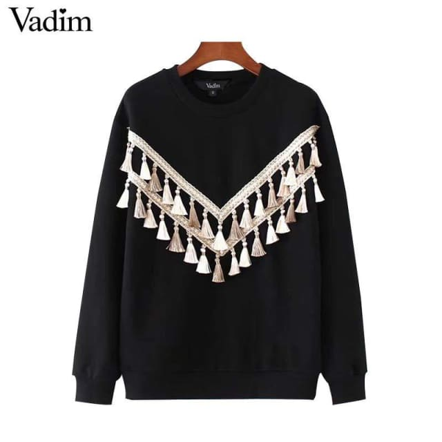 Elegant tassel sweatshirts long sleeve/ black - Sweatshirt