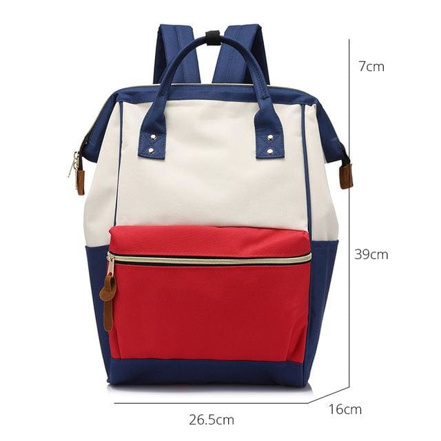 Fashion backpack for womens school backpack for teenage girls large capacity unisex - Red Blue Large / China - Softback