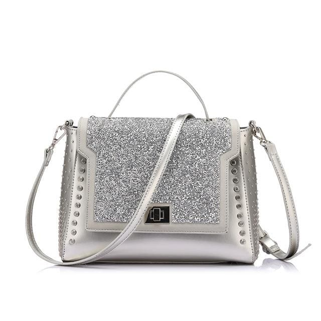 Fashion bag 2018 for womens. famous brands diamonds shoulder bag designer. handbag high quality messenger bags - Silver / China / (20cm<Max
