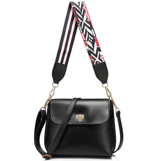 Fashion colored wide strap shoulder bag. female small handbag. solid flap crossbody bag for women. messenger bag - Black - Handbags