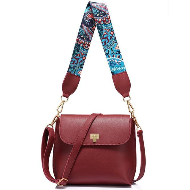 Fashion colored wide strap shoulder bag. female small handbag. solid flap crossbody bag for women. messenger bag - Red - Handbags