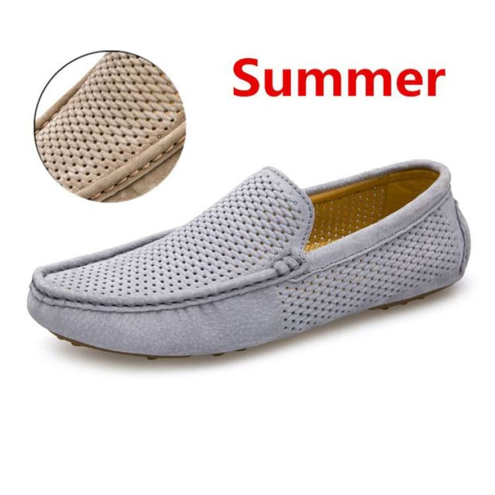 Fashion Mens shoes breathable moccasins comfortable - summer gray / 38 - Loafers