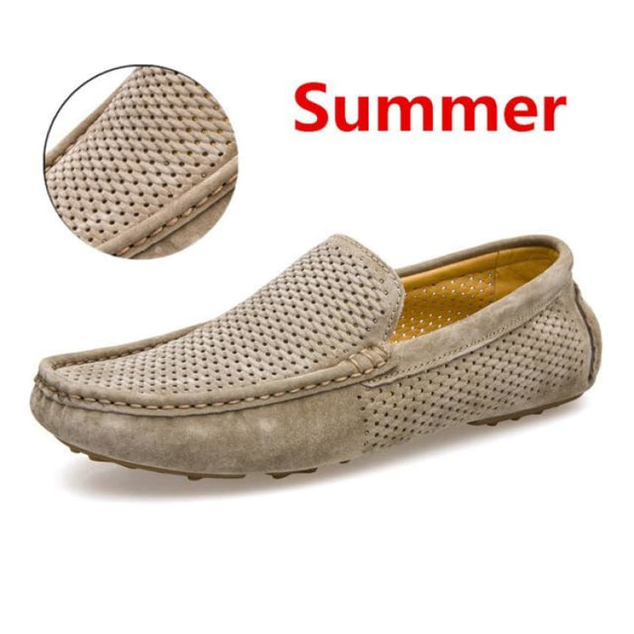 Fashion Mens shoes breathable moccasins comfortable - summer khaki / 38 - Loafers